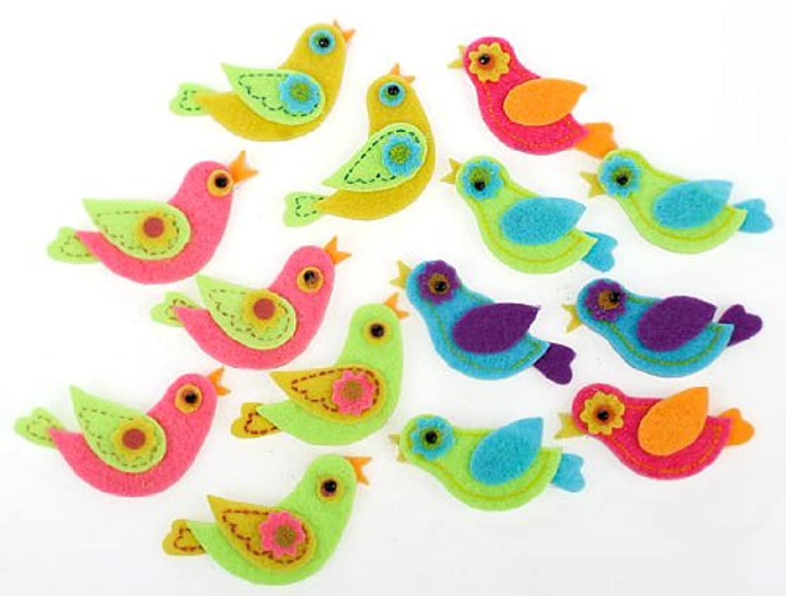 Fun Self Adhesive Dimensional Felt Partridge Style Colorful Bird Stickers for Crafting and Embellishing- Package of 56