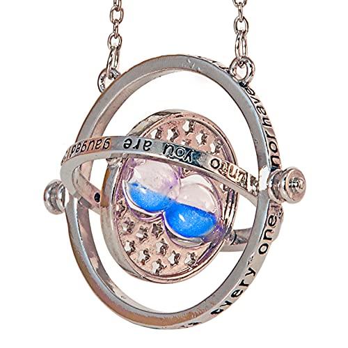 Bauqoo - Collar Giratempo Hermione en estuche negro inspirado Saga Harry Potter Gadget Accesorios para mujer hombre niña colgante plata reloj de arena azul idea regalo niña Magia Fantasy Cosplay