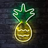 """Isaac Jacobs 17"""" x 10"""" inch LED Neon 'Yellow & Green Pineapple' Wall Sign for Cool Light, Wall Art, Bedroom Decorations, Home Accessories, Party, and Holiday Décor: Powered by USB Wire (Pineapple)"""