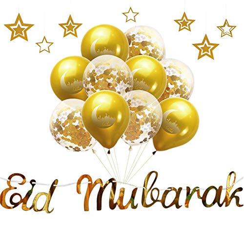 Luckything Eid Mubarak paillettenballonnen, confettiballonnen, glitters, pailletten, latexballonnen voor kinderen, meisjes, dames, feest, Ramadan Eid Mubarak ballonnen
