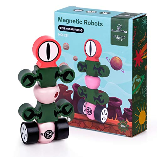 Refasy Magnetic Robots for Boys Age 3-5,Robots Toy STEM Educational Playset Magnetic Blocks for Toddlers Best Birthday Xmas Gifts Magnetic Robot Block for Kid 4-8 Year Old Stacking Toy for Kids