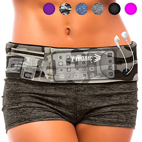 Running Belt : Best Waist Pack That Fit All Phone Models ( Camo ) Army Camouflage Gear Accessories for Women & Men. Military Travel Pouch Bag. Travelling Money Belt to Hold Passport inside Fanny Pack