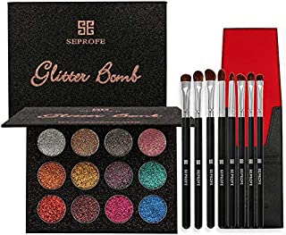 12 Color Natural Waterproof Glitter Eyeshadow Palette Shining Metals Powder Shimmer Makeup Pigments Kits Diamond C