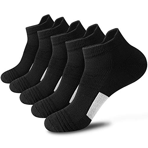 Youerls Running Socks for Mens Sports Socks Cushioned Trainer Socks for Men Breathable Cotton Ankle Socks 5 Pairs, Thick Cushion Athletic Socks with Arch Support (Black,UK Size 8-12)