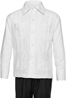 Gentlemens Collection Big Boy`s Little Boys Long Sleeve/Short Sleeve Linen Look Guayabera Shirt
