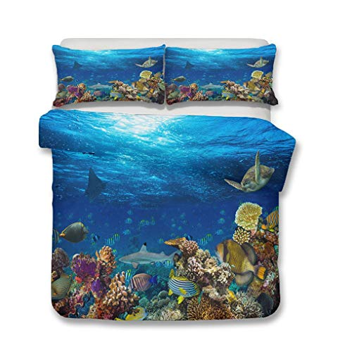 HNHDDZ Oceano Tema Fundas para edredón Fondo del Mar Mundo Juego de Cama 3D Animales Pescado Tortuga Coral Azul Verde Multicolor Funda nórdica con Cremallera (Estilo 6, 220x240 cm - Cama 150 cm)