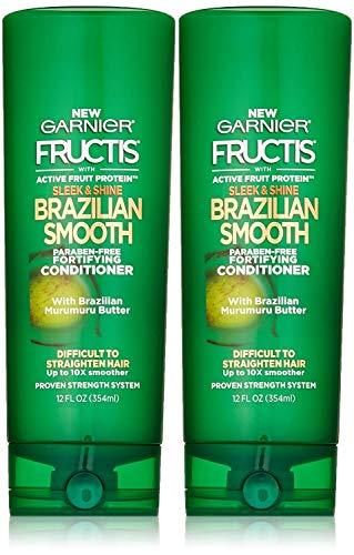 Garnier Fructis Sleek & Shine Brazilian Smooth Conditioner, 12 Fluid Ounce (Pack of 2)
