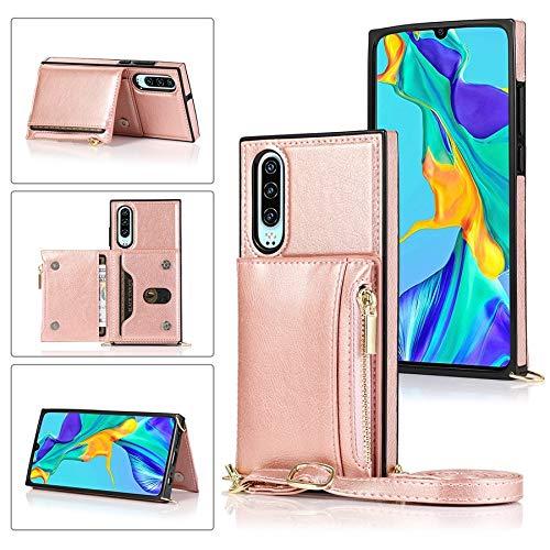 MAXJCN Funda para Huawei P30, con cremallera y soporte para tarjetas de crédito/correa larga cruzada, cuero TPU a prueba de golpes (color rosa
