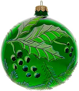 Green Holly Hand Painted and Mouth Blown Christmas Ornament Ball - Produced by Hand in Poland