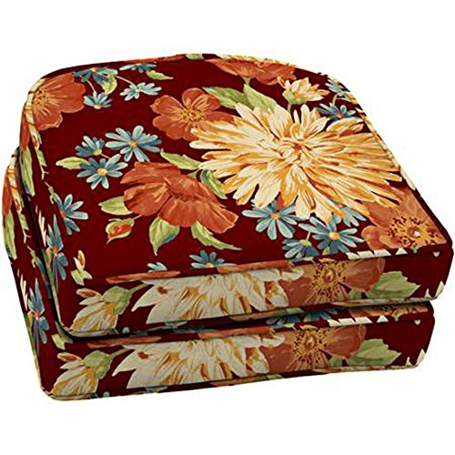 Comfort Classics Inc. Set of 2 Wicker Seat Outdoor Cushion, Watercolor Floral 18W x17L x4.25 in Polyester Fabric