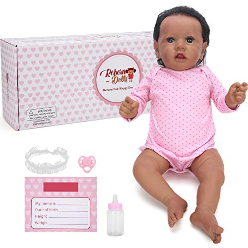 HONG111 Reborn Baby Dolls, 22inch Realistic Silicone Baby Doll, Lifelike Simulation Battery Powered Baby Doll Toy with Heartbeat and Sound, Best Birthday Set for Girls Age 3