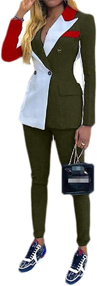 Women Pants Jacket Color Block Work Long Sleeve Blazer 2PCS Suit Sets,Army Green,X-Large