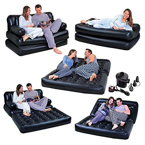Denny International 5 In 1 Inflatable Multi function Double Air Bed Sofa Chair Couch Lounger Bed Mattress (5 in 1 with Electric Air Pump)
