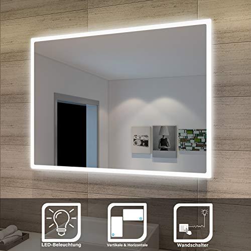 Sonni Badspiegel Lichtspiegel Kupfer/bleifreie Spiegel Wandspiegel 80 x 60cm kaltweiß IP44 energiesparend