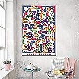 Arte de pared abstracto Keith Haring pintura de lienzo original arte de acuarela impresiones de carteles decoración de sala de estar moderna cuadros de pared pop 40X60Cm sin marco