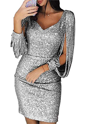 Andongnywell Women's Sparkle Glitzy Glam Sequin V Neck Long Sleeve Part Dress Sequins Glitters Sexy Mini Dresses (Silver,XX-Large)