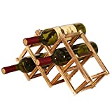 Reuvv in Legno Rastrelliera per Vino 3/6/10 Portabottiglie Pieghevole Ripiani Creativo Autoportante Rustico Organizer Mensola Esposizione - 6 Bottiglie