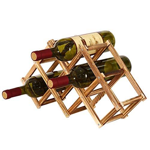 Reuvv Madera Botellero 3/6/10 Sujeta-Botellas Plegable Vino Estanterías Creativo de Pie Rústico...