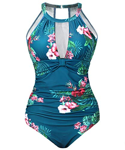 Begonia.K Women One Piece Floral Printed Swimsuit High Neck Mesh Ruched Swimwear (Turquoise, Large)