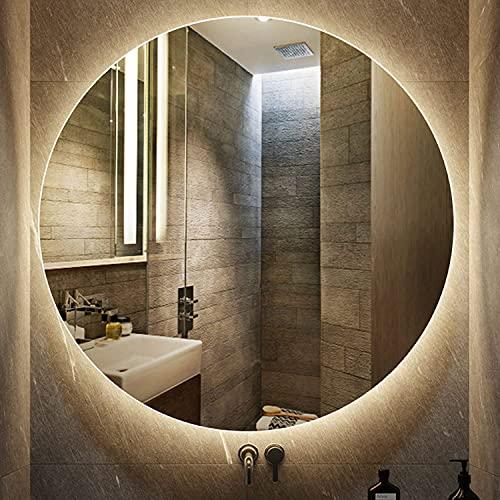 LZQHGJ YAWEN Redondo DIRIGIÓ Espejo de baño Iluminado   Mirado de Maquillaje montado en la Pared Espejo Incorporado en el Interruptor táctil con función Anti-Niebla   Hotel/Dormitorio/Vivo