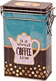 Quality IT IS ALWAYS COFFEE TIME - Vintage Style COFFEE POT DESIGN Rectangular Coffee Tin/Caddy/Kitchen Storage Tin/Canister - hermetically sealed - Gold, Aqua, Brown - 250g