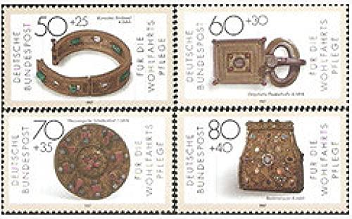FGNDGEQN Colección de Sellos Bielorrusia Alemania Alemania Occidental 1987 Joyería de Oro y Plata Pulsera Artesanal con Hebilla Pins 4 Full Foreard Sello