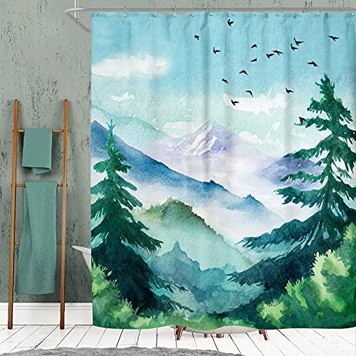 SVBright Watercolor Mountain Shower Curtain Forest Nature Landscape 60Wx72L Inch Green Misty Tree Scenery 12 Pack Hooks Polyester Waterproof Fabric Bathroom Bathtub Panels