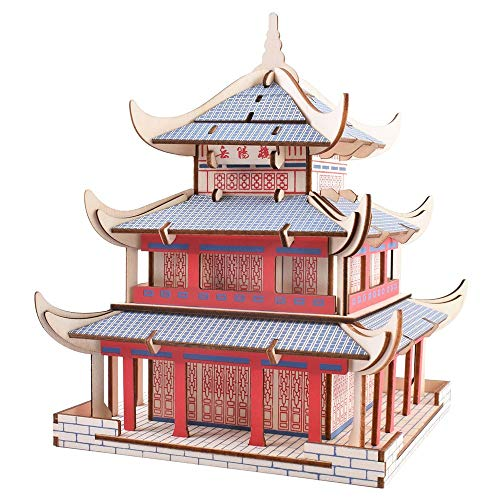 FCHJJ Puzzle 3D de Madera Torre yueyang 3D Rompecabezas de Madera Color de Madera Natural protección del Medio Ambiente Pantalla de Seda Juguete de Aprendizaje puzle DIY para niños