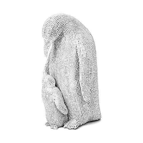Widdop Best of Breed Dekofigur Pinguin und Baby, 20 cm, silberfarben