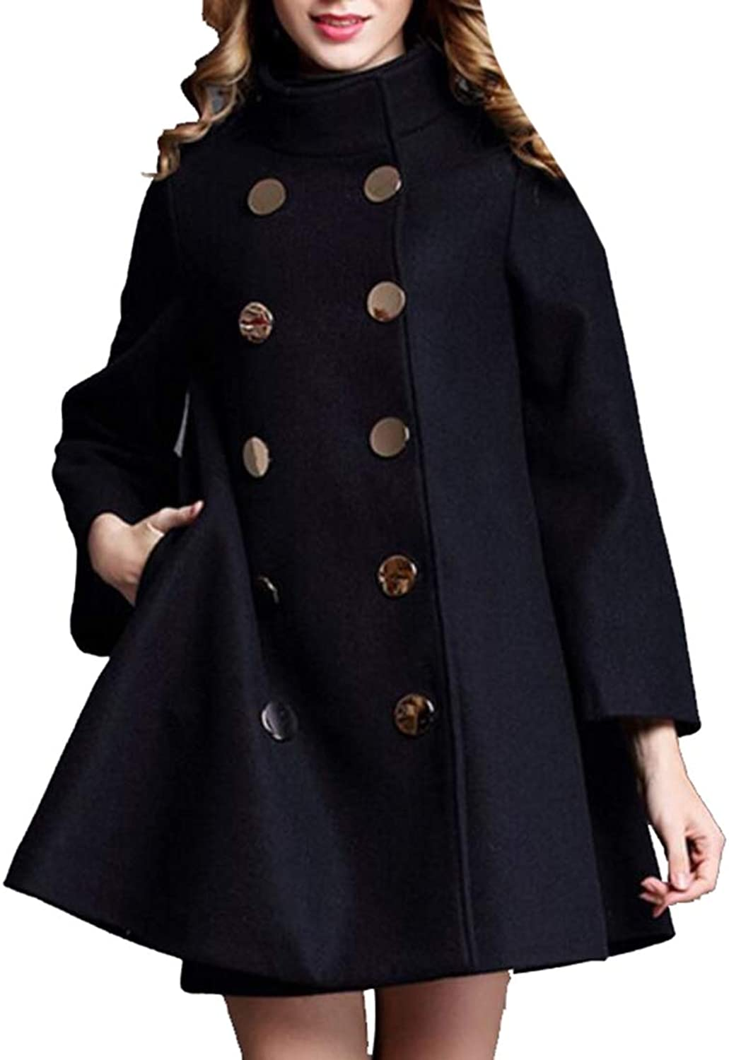 Sanderso Women's Winter Trench Jacket DoubleBreasted Pea Coat Lapel Wool Coat