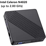 Mini PC Fanless Intel Celeron N4020 (up to 2.8GHz) 4GB DDR/64GB eMMC Mini Desktop Computer Windows 10 HDMI 2.0and VGA Port 2.4/5.8G WiFi BT4.2 3xUSB3.0 Support Linux,NGFF 2242 SSD,Auto Power On