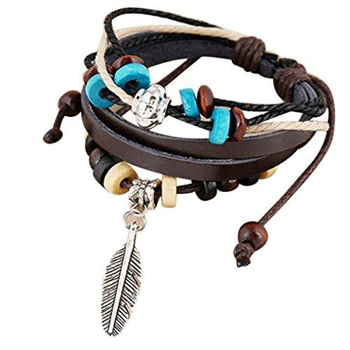 Sunnywill Neuen indischen Stil Holzperle Handgelenk Armband Leder Feder Schmuck für Mädchen Frauen Damen (Brown)
