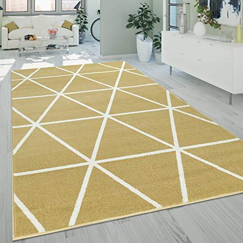 Alfombra Salón Pelo Corto Moderna Diseño Geométrico Motivo Rombos Amarillo, tamaño:200x280 cm