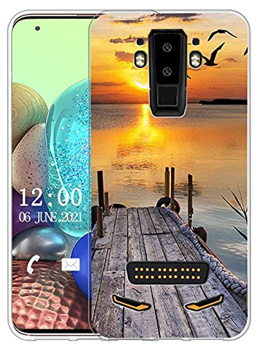 Sunrive Kompatibel mit DOOGEE S90 Hülle Silikon, Transparent Handyhülle Schutzhülle Etui Hülle (X Sonnenuntergang See)+Gratis Universal Eingabestift MEHRWEG