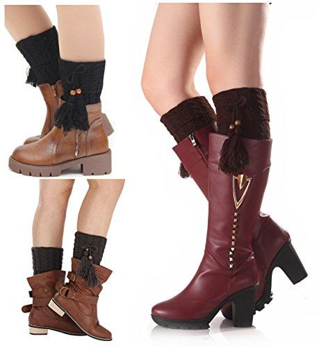 Santwo, Scaldamuscoli da donna lavorati a maglia per stivali, caldi, a metà gamba, 3 paia Modello 2 Taglia unica
