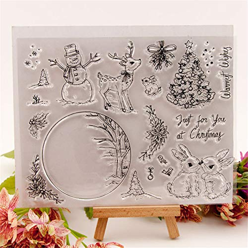 YULEKITO Just for You at Christmas Snowman Clear Stamps for Card Making Decoration DIY Scrapbooking