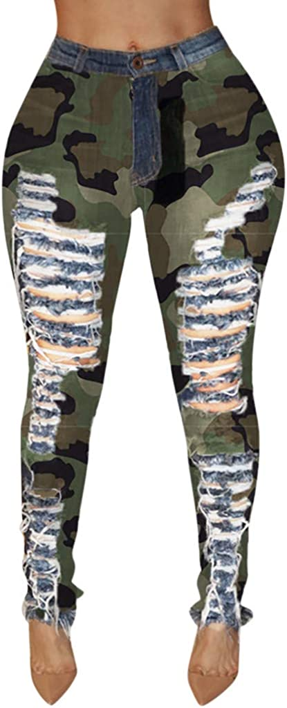 Women's Jeans Casual Plus Size Camouflage Print Ripped Button Zipper Pocket Mid Waist Jeans Denim Tight Pants