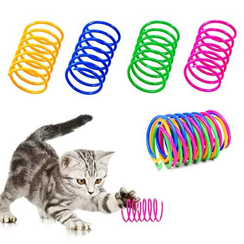 20Pcs Juguete del Gato Primavera,Gatito Mascotas Regalo de Novedad,Muelle Colorido Juguete para Gato, Muelles en Espiral de Plástico,Gato de Primavera Juguetes,Juguetes de Gatito de plástico (