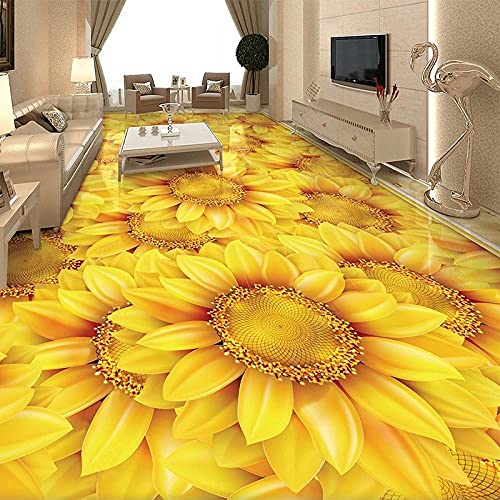 Papel pintado autoadhesivo personalizado para suelo moderno girasol planta flor 3D baldosas mural sala de estar dormitorio decoración del hogar pegatinas-200 * 140 cm
