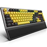 Mechanical Gaming Keyboard, PowerLead Wired Keyboard Rainbow RGB Backlit with Detachable Leather Wrist Rest, Programmable Settings with N-Key Flip, for Windows PC/MAC Games (104 Keys, Blue Switch)