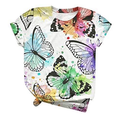 JUTOO 3D Butterfly Printed O-Neck Tops Damen Plus Size Bluse Kurzarm T-Shirt(Mehrfarbig 9,XXXL)