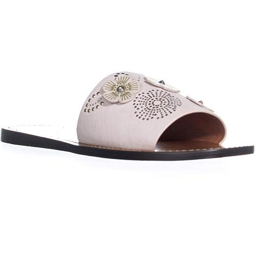 59cde2b90f2 Coach Womens Tea Rose Rivet Leather Open Toe Casual Slide Sandals