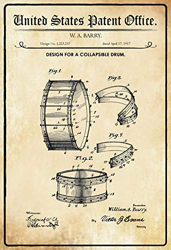 US United States Patent Office instrument Collapsible Drum Inklapbare trommel 1917 metalen bord bord bord gebogen metalen plaat metalen plaat plaat metalen Tin Sign 20 x 30 cm