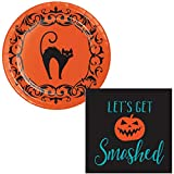 Vintage Themed Halloween Party Supplies for 16 People | Bundle Includes Paper Dessert Plates and Napkins | Halloween Symbols Design