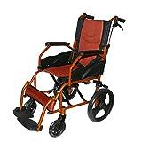 KHL Aluminium Alloy Light Weight, Foldable Back and Flip-Up Leg Rest Wheelchair (Orange)