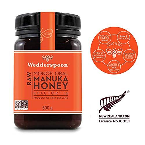 Wedderspoon KFactor 16 - Manukahonig - 100% natürlicher Honig - roher Honig - Ursprung von Neuseeland (500g)