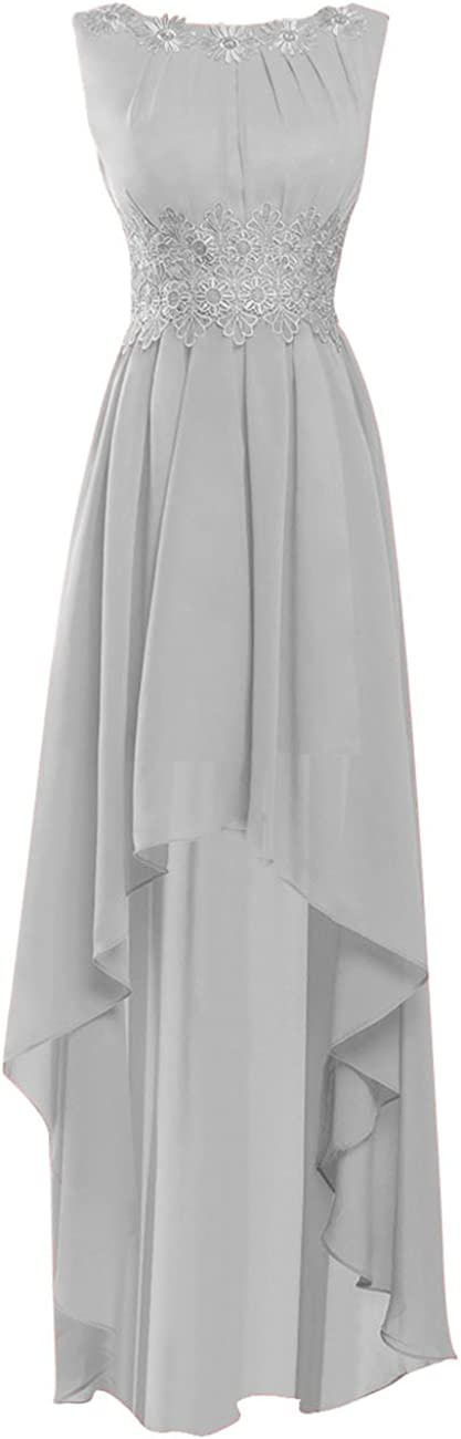 Prom Dress High Low Formal Evening Gowns Chiffon Long Bridesmaid Dress Lace Gown Open Back
