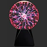 Lebbeen Glass Plasma Ball Sphere Lightning Light Lamp Party Magical Ball electrostatic Flashing Ball (6.0 Inches)