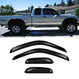 JJ 94948 For 95-04 Tacoma Access/Extended Cab Dark Smoke Out-Channel Mount Style Wind Sun Rain Guard Vent Shade Deflector Window Visors Exterior Door Trim