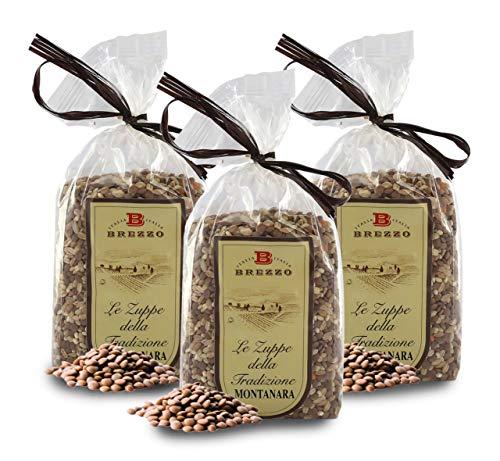 Sopa Montanara de Cereales y Legumbres: Lentejas Rojas, Cebada Perlada y Farro | 500 Gramos (Paquete de 2 Piezas)